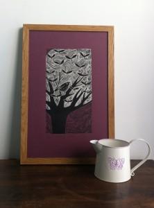 Butterfly leaves - plum- framed