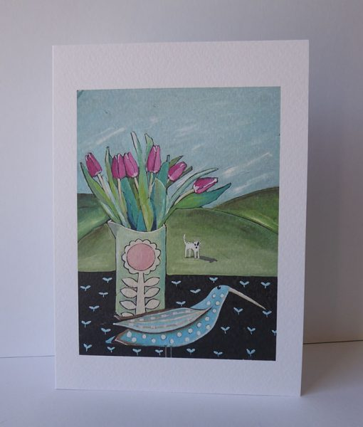 Spotted-Long-Beak-and-tulips.-Greetings-card